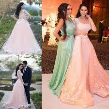 acheter 2016 zuhair murad de luxe arabe style robes de soirée rose pâle tulle prom pageant robes détachable overskirt carré cou usure romant de 140 71 du