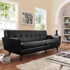 modway engage bonded leather sofa with wood legs multiple colors com