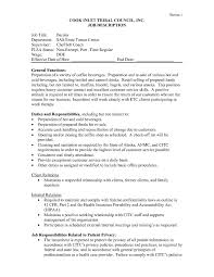 Samples Of Job Descriptions Barista Job Description For Resume Samples Duties Letter