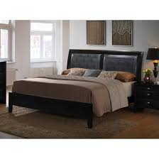 low profile king bed. Brilliant King Shop Blemerey Black Bonded Leather Padded Back Low Profile King Bed  Free  Shipping Today Overstockcom 15019853 With L
