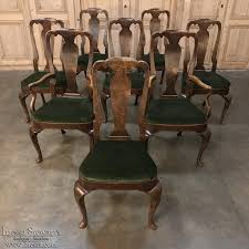 set of 8 antique queen anne dining chairs with 2 armchairs