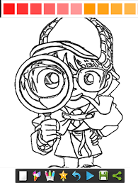 coloring page for conane detective man
