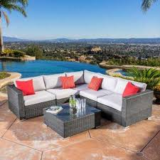 santa rosa grey 6 piece wicker outdoor sectional set with silver gray cushions