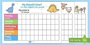 My Reward Chart Pack English Italian My Reward Chart