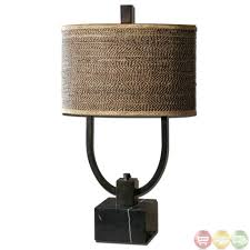 Lighting: Creative Small Rustic Table Lamp With Fabric Rectangular Shade  With Bear Base Design -