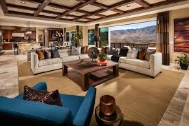contemporary living room with coffered ceiling and open view of mountains