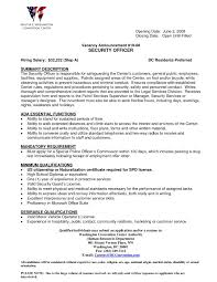 Security Job Description For Resume New Security Ficer Resume