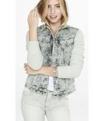 Light Gray Denim Jacket Nep Knit Sleeve Hooded Denim Jacket