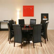 large round black oak dining set table 8 high back leather chairs ebay