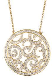 image of savvy cie 18k yellow gold vermeil white diamond filigree medallion pendant necklace 0 10
