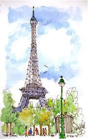 Tour Eiffel Paris Pinterest Watercolor Sketches And Drawings