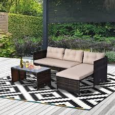 outsunny 3 piece garden patio sofa set
