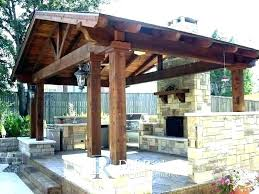 covered outdoor pavilion with fireplace kitchen patio photo in a gazebo plans