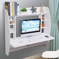 computer desktop furniture. Wall Mounted Floating Computer Desk With Storage Shelves Laptop Home Office Furniture Work White 1 Desktop