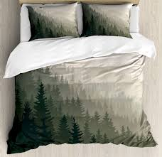 forest king size duvet cover set northern parts of the world with coniferous trees scandinavian woodland decorative 3 piece bedding set with 2 pillow