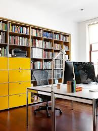 filing cabinets in cheerful yellow steal the show in this home office design nexus bright home office design