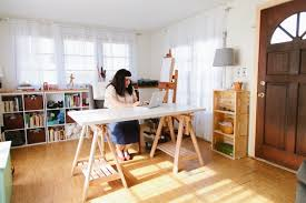 ... cozy home art idea with wooden crafting table also unfinished wood  storage shelves and white curtains