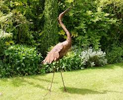 large rusty heron stylized metal sculpture garden sculptures ornaments