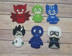 masks bathroom accessories set personalized potty: pj mask finger puppets complete set gekko catboy night ninja romeo luna girl