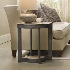 furniture mill valley round marble top end table in travertine with metal base 5283 80114