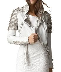 silver cropped leather jacket