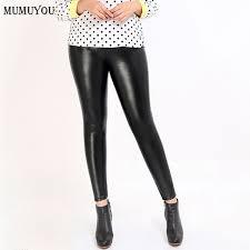 women plus size pu pants black casual y leather leggings high waist ankle length m 4xl fashion trousers new smt a026 lfoo52215