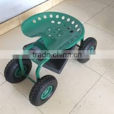 four wheel rolling garden work seat cart tc1852