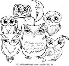 owls group cartoon characters coloring book csp50139232