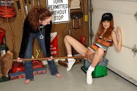 Girl fucking broom handle