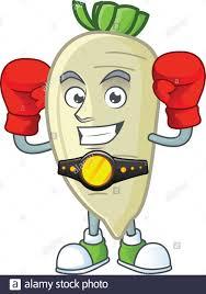 Cartoon Design Funny Face Boxing White Radish Cartoon Character Design