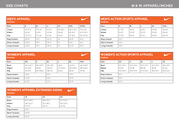 M W Apparel Size Chart In Inches Nike Download Printable