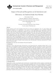 research paper impact of reward and recognition on job research paper impact of reward and recognition on job satisfaction and motivation an empirical study from