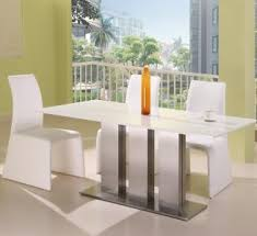 white modern dining room sets. Ultra Modern Ice White Marble Dining Table Set Room Sets A