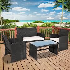 bcp 4 piece wicker patio furniture set w tempered glass sofas table seats com