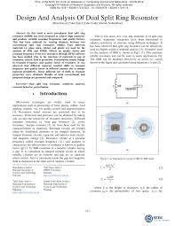 PDF) Design And Analysis Of Dual Split Ring Resonator