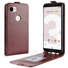 crazy horse vertical flip leather case accessory for google pixel 3a brown