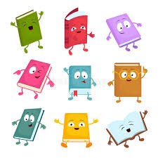 funny and cute cartoon book vector characters happy library books mascots set stock vector