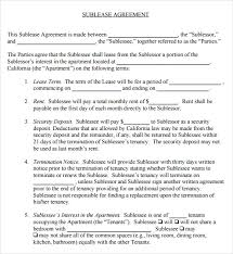 Apartment Sublease Template Sublease Agreement 6 Example Format