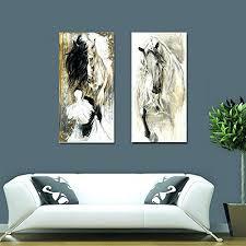 modern canvas art. Modern Canvas Wall Art Australia Set Animal Elegant Brown White Horse Oil Painting Print On Poster . Large