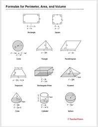 Formulas For Perimeter Area And Volume Teachervision