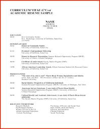 Academic Resume Sample Academic Resume Sample Pdf Academic