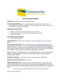 Letter Of Interest For Adjunct Professor Position