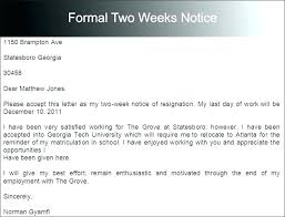 One Week Notice Resignation Letter Weeks Notice Letter Example Ericremboldt Com