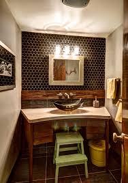 rustic half bathroom ideas. Rustic Half Bath Bathroom Midcentury With Concrete Counters Hexagon Tiles  Rustic Ideas S