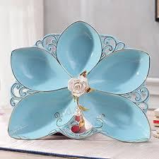 blue petal ceramics fruit dish fashion