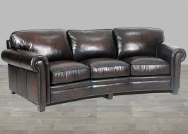 coffee leather hillsboro three seat angled sofa in old world finish curved leather sofa35