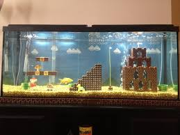 decoration: Nice Decor Of Cool Aquariums With Brown Puzzle Toys Also Mini  Buckets Plus Yellow