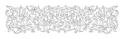 Vignette Design Floral Ornament In Medieval Style Pattern Of Interwoven