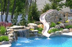 inground pools with waterfalls and slides. Rock Water Slide For Inground Pool Custom Waterfall With From Town In Pools Waterfalls And Slides O