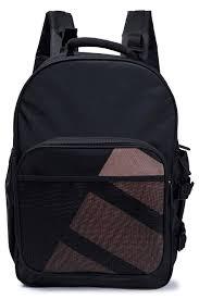 Black Designer Backpack Mesh Paneled Canvas Backpack